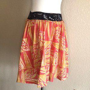Anthro Vanessa Virginia Pink Yellow Boho Skirt